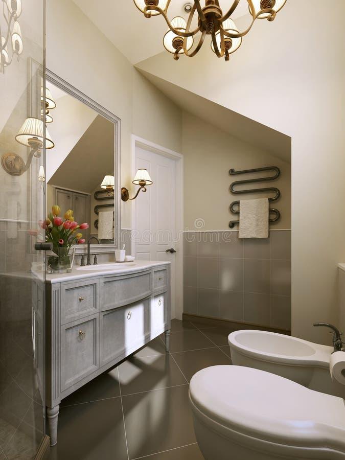 Ванная комната в классицистической ванной комнате style иллюстрация штока