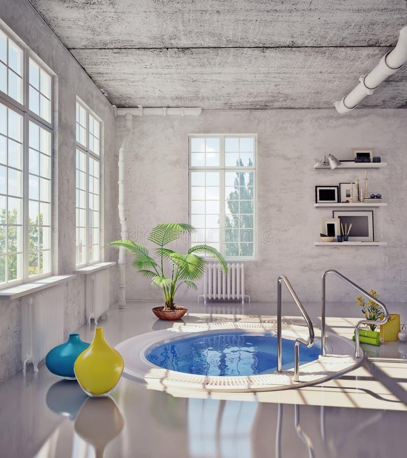 Ванная комната в просторной квартире иллюстрация вектора