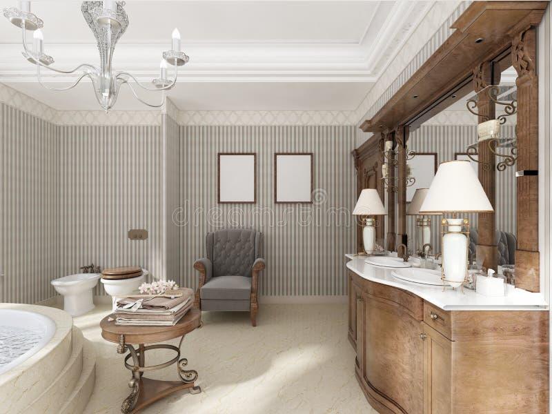 Ванная комната в роскошном неоклассическом стиле с ушатами раковин и lar бесплатная иллюстрация
