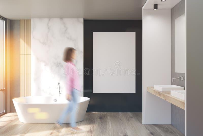 Ванная комната мрамора, белых и черных, плакат, девушка стоковые изображения rf