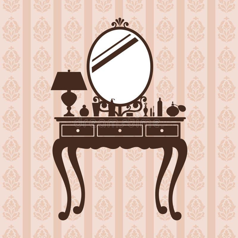 ванная комната одевая таблицу зеркала иллюстрация вектора