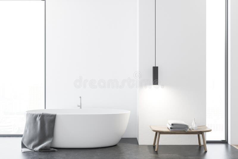 Ванная комната просторной квартиры белая с ушатом иллюстрация вектора