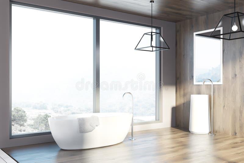 Ванная комната просторной квартиры деревянные, ушат и раковина, сторона бесплатная иллюстрация