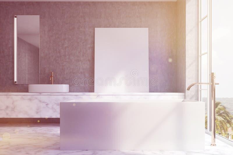 Ванная комната просторной квартиры, прямоугольный ушат, встает на сторону тонизированный иллюстрация штока