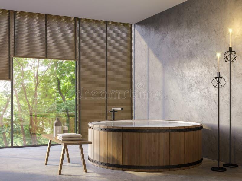 Ванная комната стиля просторной квартиры с изображением перевода взгляда 3d природы иллюстрация штока