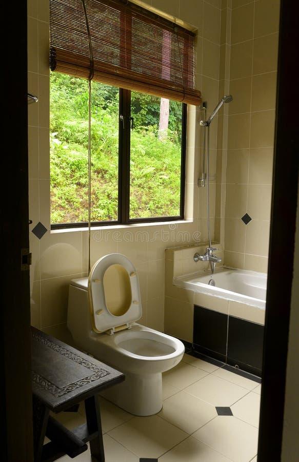 Ванная комната с тропическим взглядом джунглей стоковая фотография