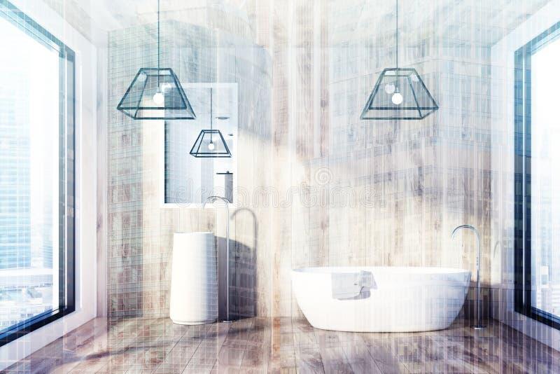 Ванная комната, ушат и раковина просторной квартиры деревянные удваивают бесплатная иллюстрация