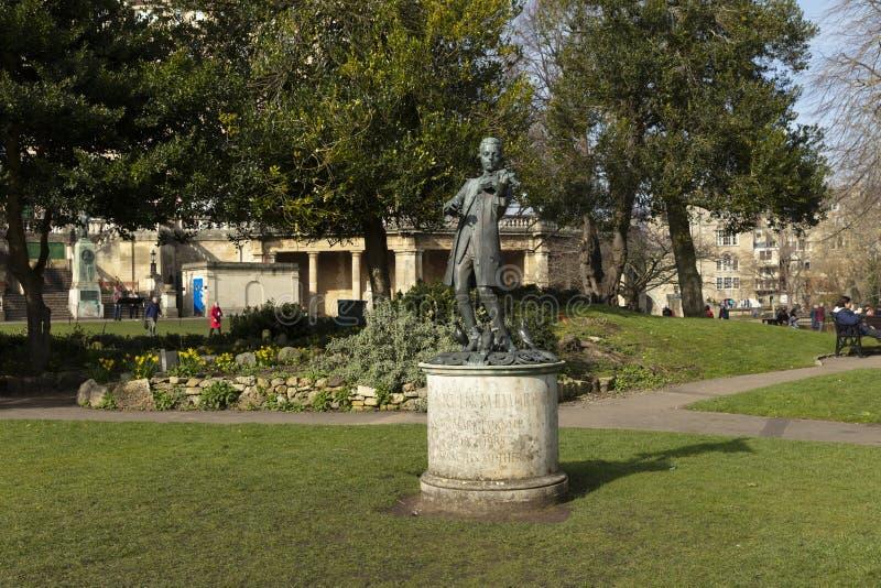 Ванна, Сомерсет, Великобритания, 22-ое февраля 2019, статуя Вольфганг Амадей Моцарт в садах парада стоковая фотография
