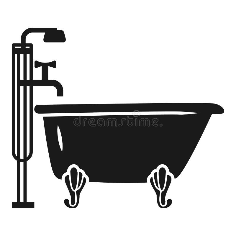 Ванна со значком ливня, простым стилем бесплатная иллюстрация