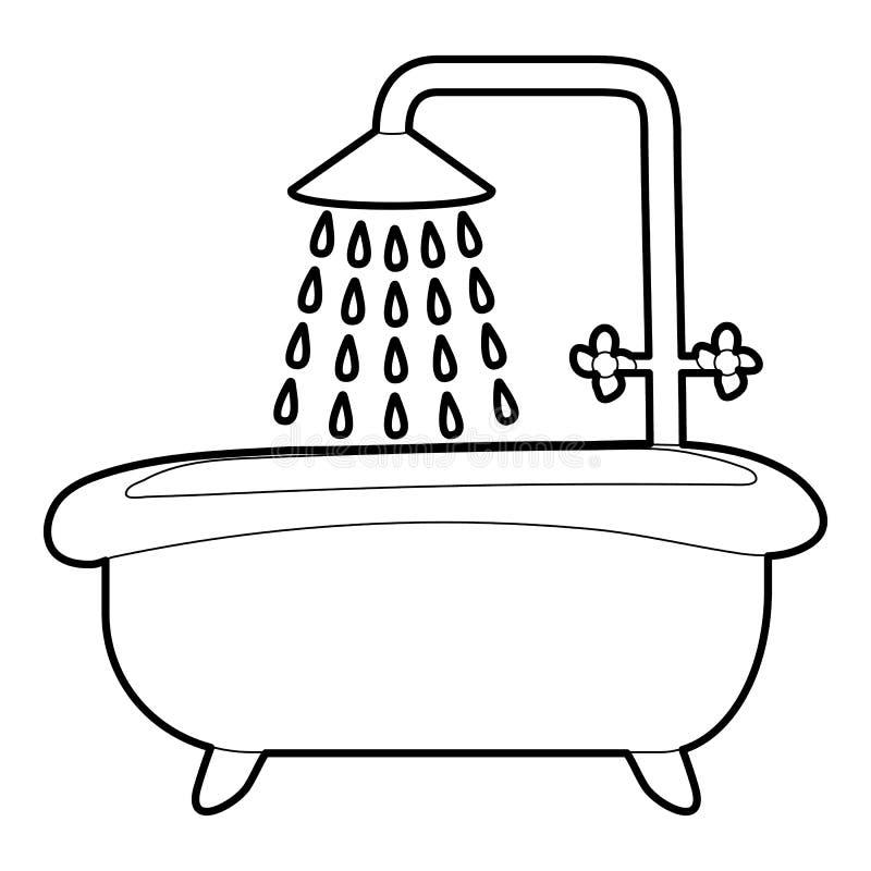Ванна с значком ливня, стилем плана иллюстрация вектора
