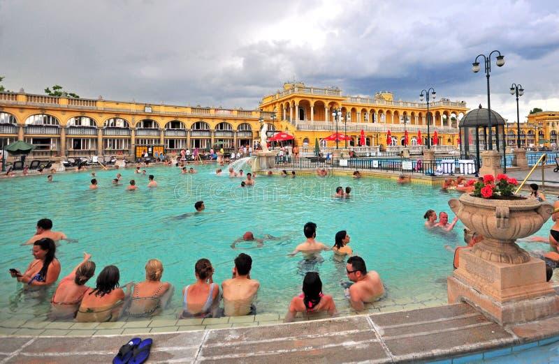 Ванна Szechenyi целебная термальная в Будапеште стоковые фото