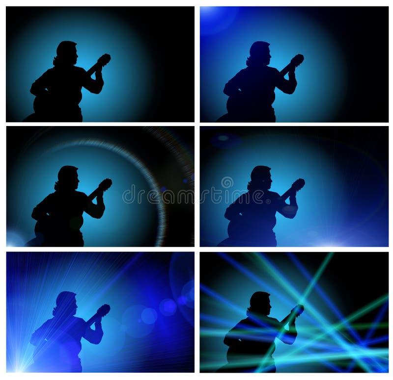 ванта гитары играя силуэт стоковые изображения rf