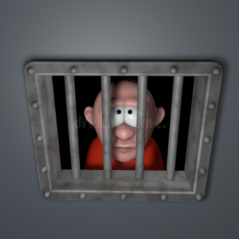 Ванта шаржа в тюрьме бесплатная иллюстрация