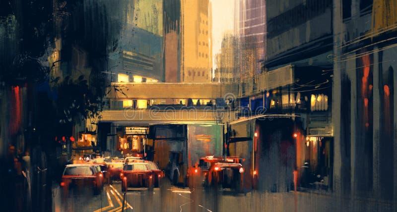 Варенье городского транспорта на улице стоковые изображения rf