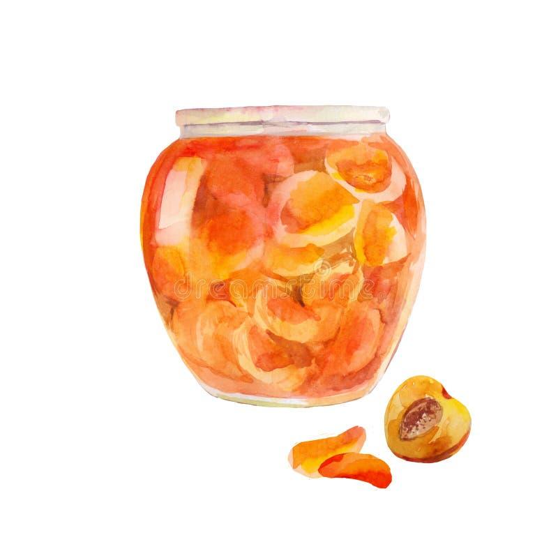 Варенье персика в опарнике Абрикосы отрезанные в сладостном сиропе Акварель il иллюстрация вектора