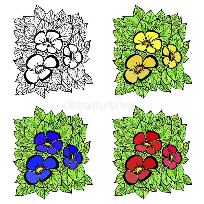 4 варианта картин с другими цветами на белой предпосылке бесплатная иллюстрация