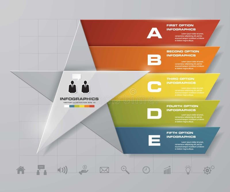 5 вариантов представления template/5 шагов играют главные роли график формы или план вебсайта иллюстрация штока