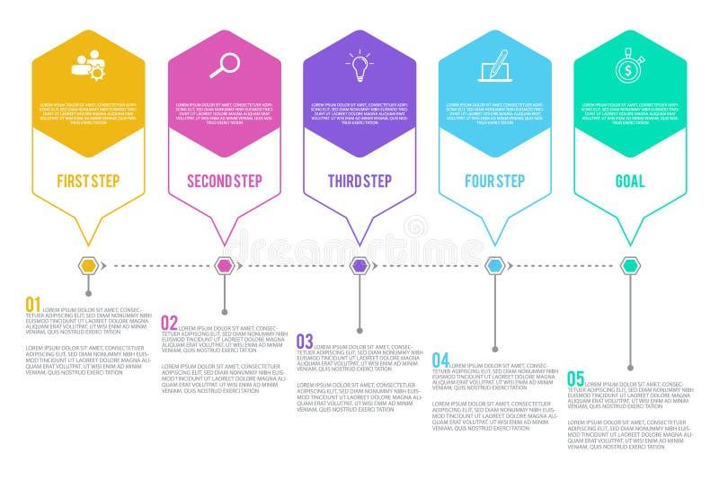 5 варианты или шагов infographic в плоском стиле на белой предпосылке бесплатная иллюстрация