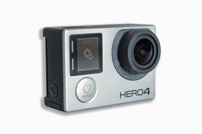 Вариант героя 4 GoPro черный изолированный на белой предпосылке стоковое фото