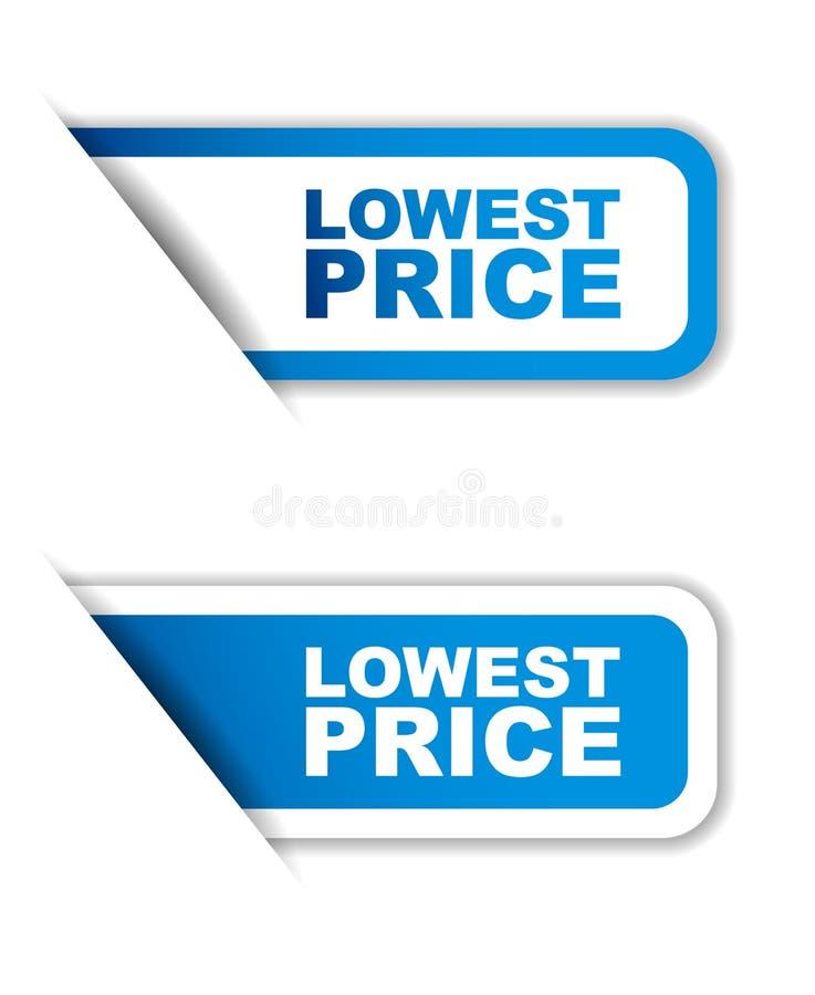 Вариант самого низкого цены 2 стикера голубой бумаги иллюстрация вектора
