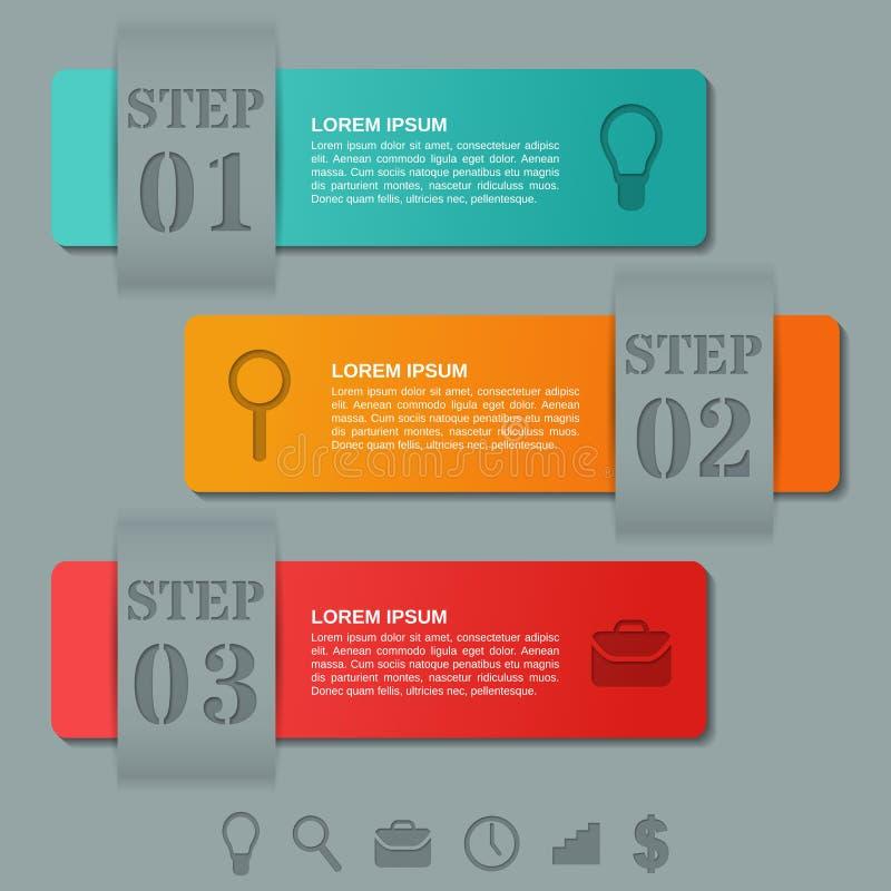 Вариант шаблонов 3 стрелок Infographics, части, шаги Бизнес иллюстрация штока