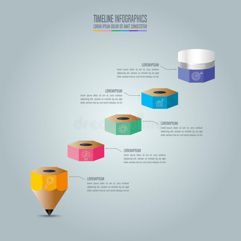 Вариант шага шаблона 5 infographics образования Infograp срока бесплатная иллюстрация