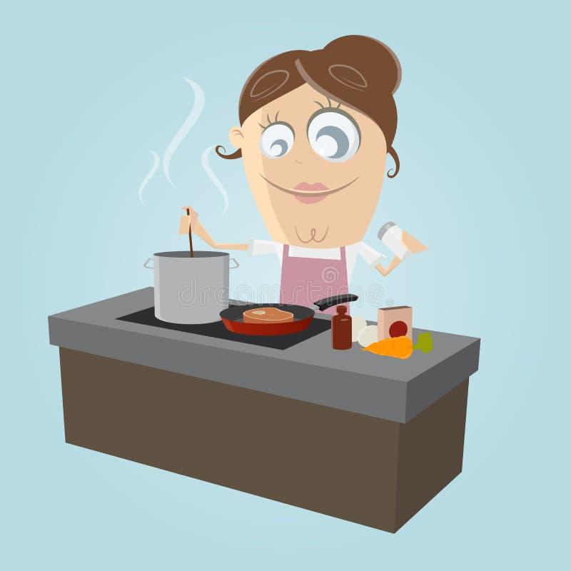 Варить в кухне иллюстрация штока