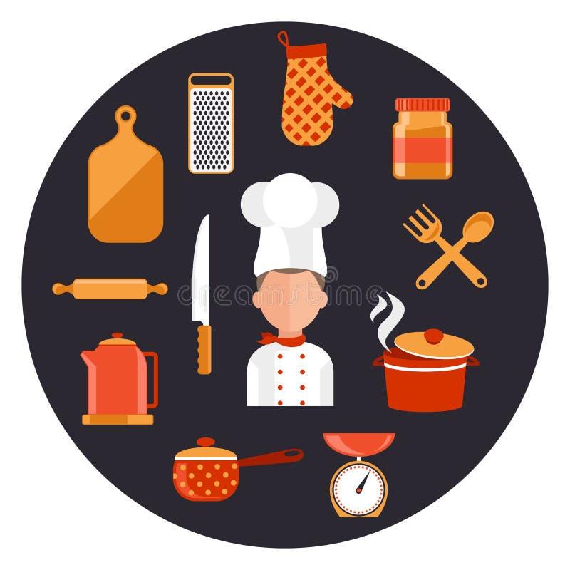 Варить еды подачи и элементы приготовления пищи иллюстрация штока