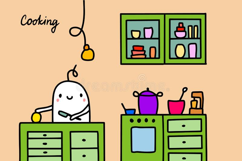 Варить иллюстрацию вектора руки вычерченную в стиле мультфильма Люди на кухне делая блюдо иллюстрация штока