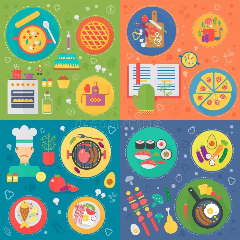 Варить квадратный набор концепций Варочный процесс, иллюстрация вектора дизайна вектора рецептов еды плоско иллюстрация вектора