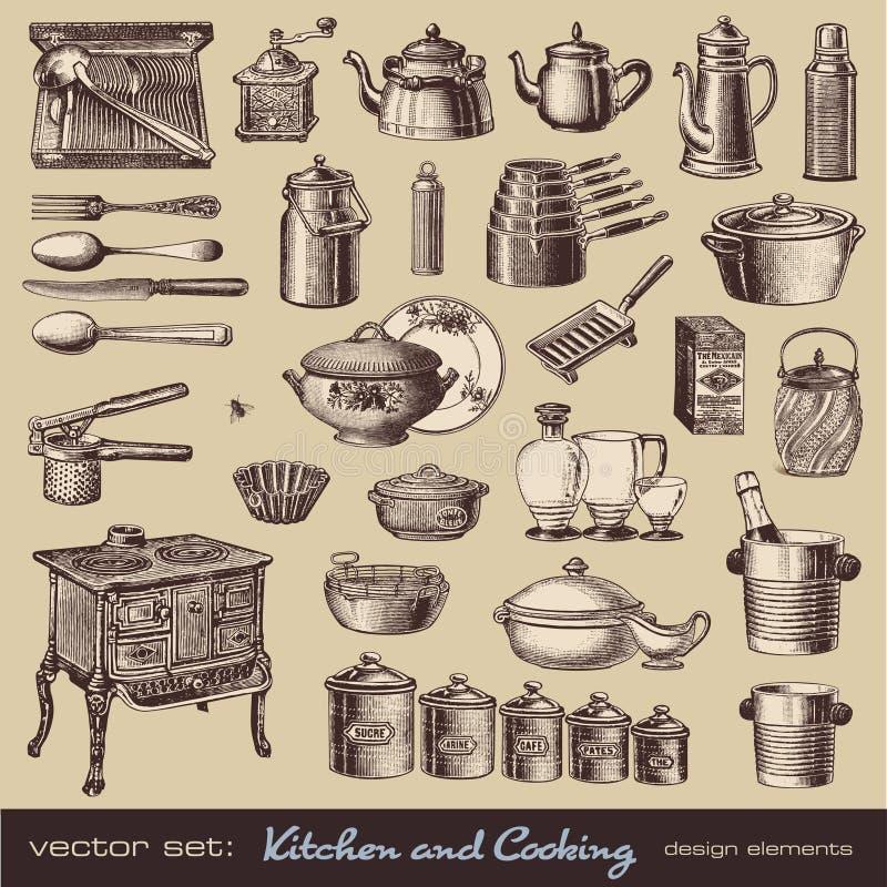 варить кухню элементов конструкции иллюстрация вектора
