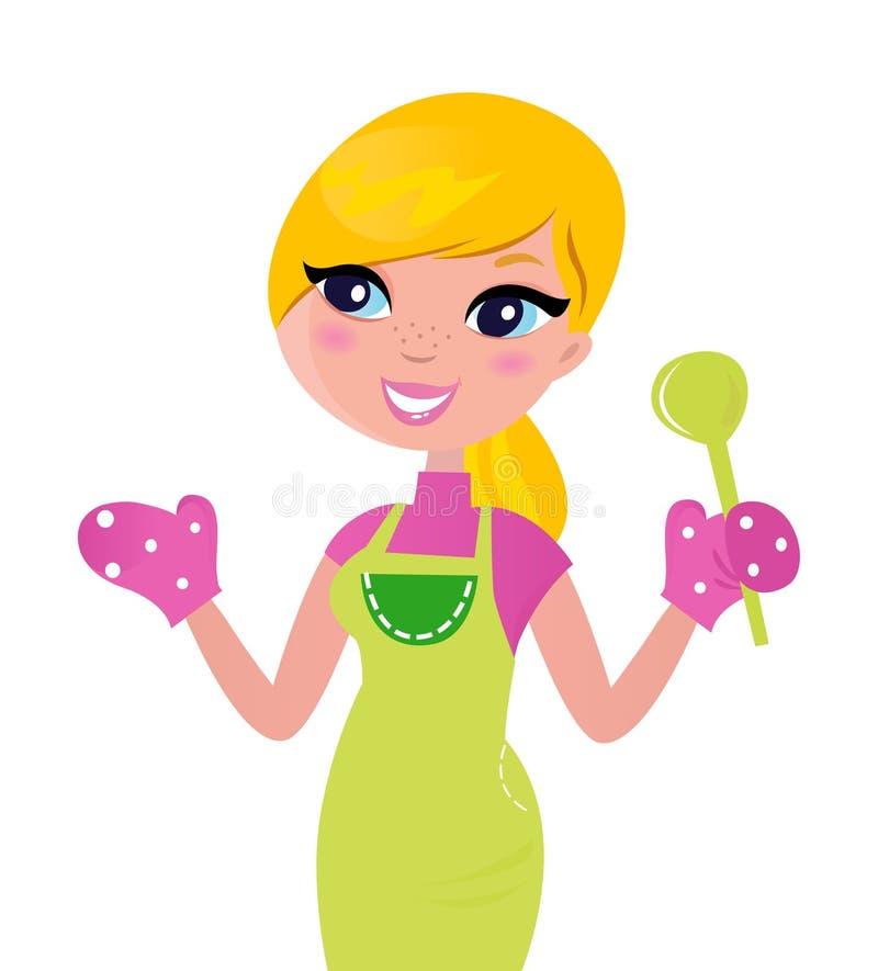 варить мать еды зеленую здоровую подготовляя иллюстрация штока