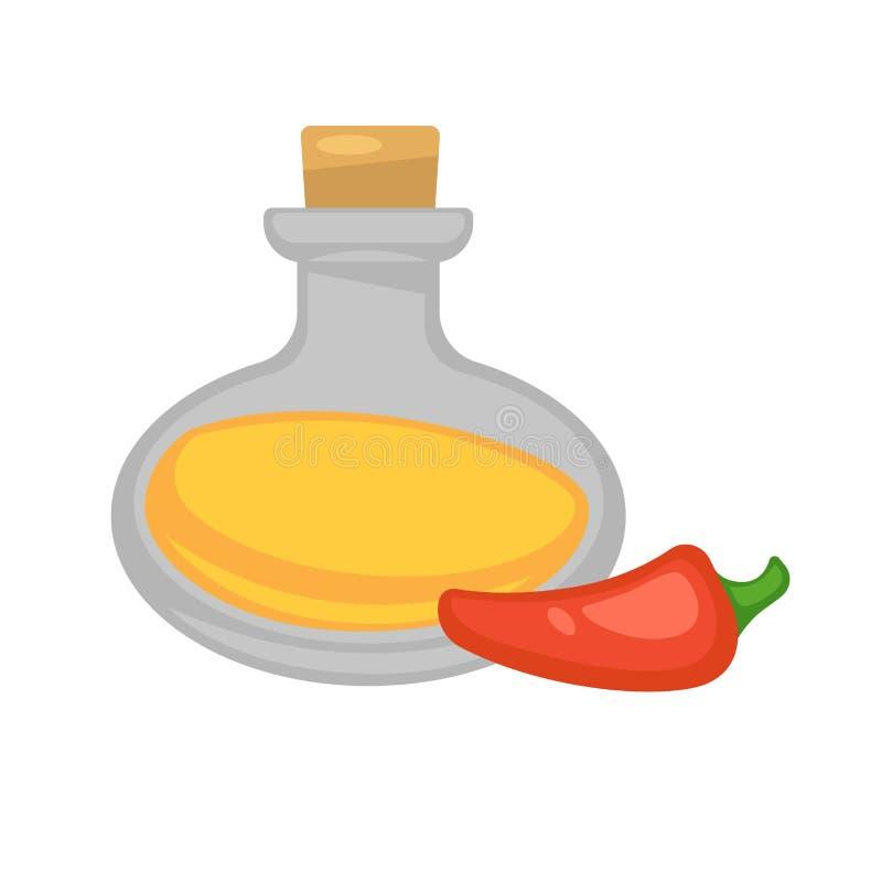 Варить оливковое масло и перец вектора ингридиентов бесплатная иллюстрация