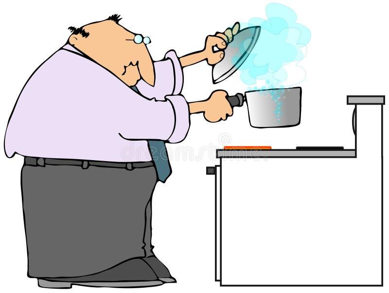 варить печку человека иллюстрация штока