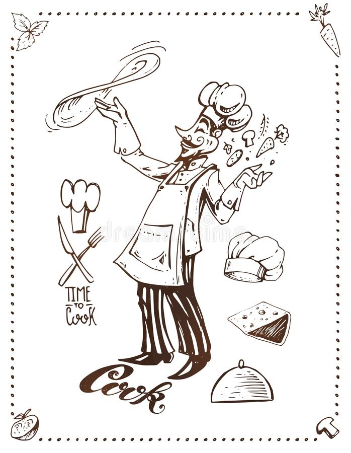 Варить пиццы Дизайн плаката вектора руки вычерченный иллюстрация вектора