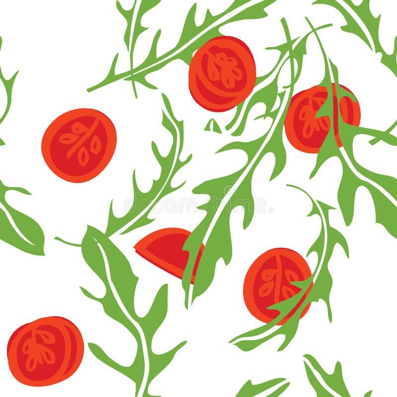 Варить травы Arugula и картину томатов безшовную иллюстрация вектора