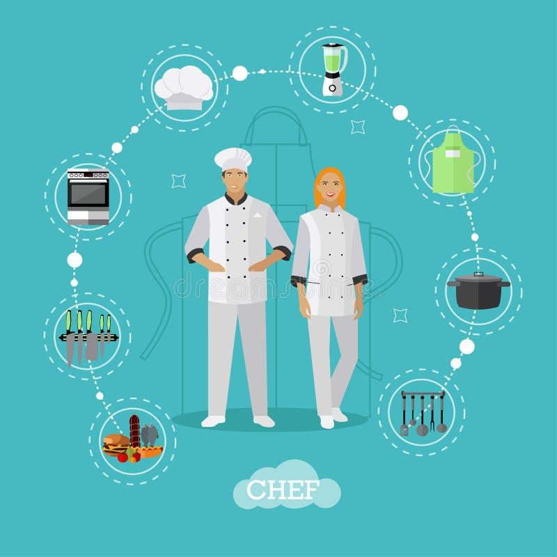 Варить характеры шеф-поваров Иллюстрация вектора в плоском дизайне стиля бесплатная иллюстрация