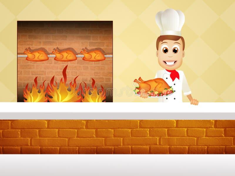 варить цыпленка шеф-повара иллюстрация штока