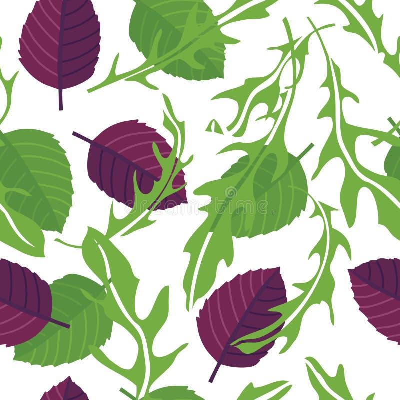 Варить Arugula трав с картиной зеленого и пурпурного базилика безшовной бесплатная иллюстрация
