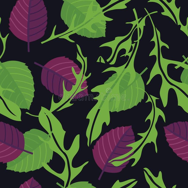 Варить Arugula трав с предпосылкой черноты картины зеленого и пурпурного базилика безшовной иллюстрация вектора