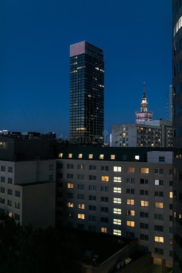 Варшава городская на ноче, Польша стоковые изображения rf