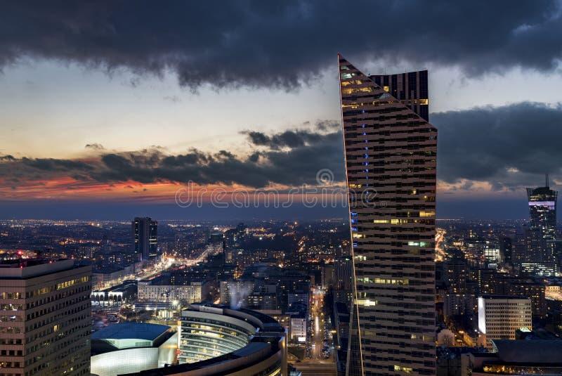 Варшава городская ночью, Польша стоковое фото rf