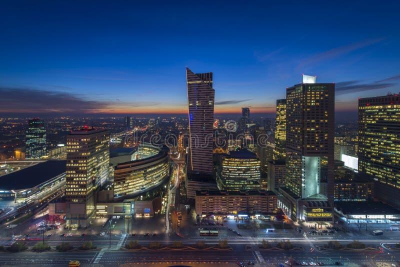 Варшава городская ночью стоковая фотография rf