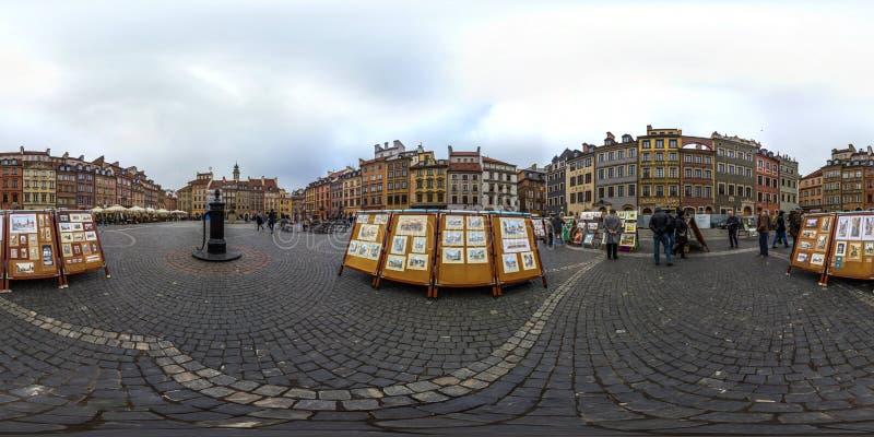 Варшава, Польша - сферически панорама 2018 3D с углом наблюдения 360 градусов старого городка Подготавливайте для виртуальной реа стоковое изображение rf