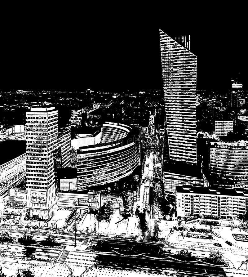 Варшава, Польша - 27-ое августа 2016: Воздушный панорамный взгляд к центру города польской столицы к ноча, от верхнего дворца стоковое изображение