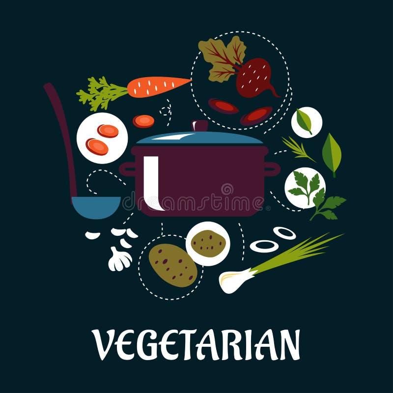 Варящ вегетарианское блюдо плоско infographic иллюстрация штока