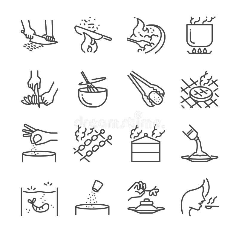 Варящ линию комплект значка Включил значки по мере того как кусок, чирей, пар, stir, зажарило, гриль и больше иллюстрация вектора