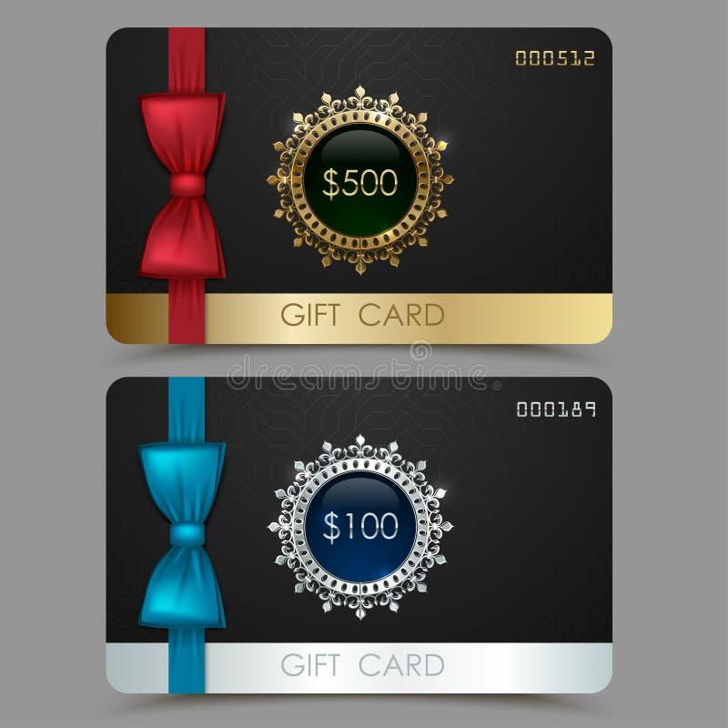 Ваучер карточки подарка с красной и голубой лентой смычка Карточка черного вектора пластичная, золотая серебряная линия шаблон ди иллюстрация штока