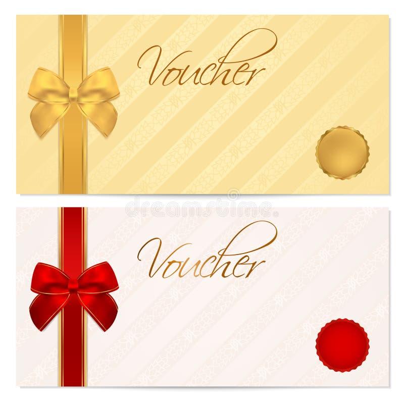 Ваучер, подарочный купон, шаблон талона. Смычок иллюстрация вектора