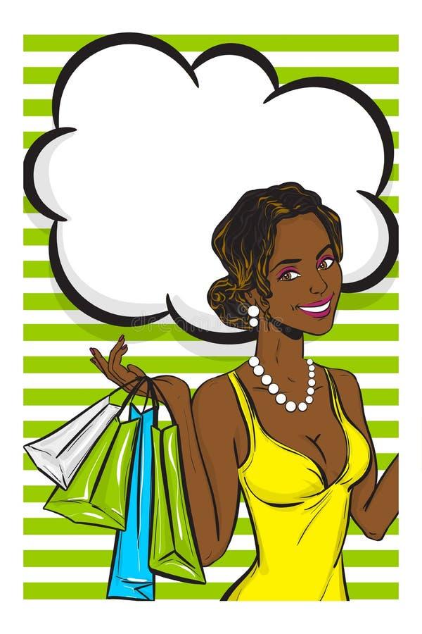 Вау искусство попа девушки лета стороны черное афро иллюстрация штока